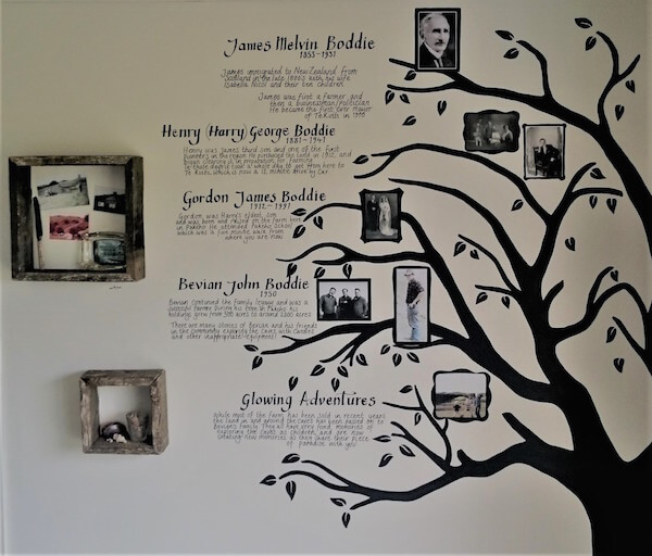 Photograph of Boddie Family tree on office wall at Glowing Adventures