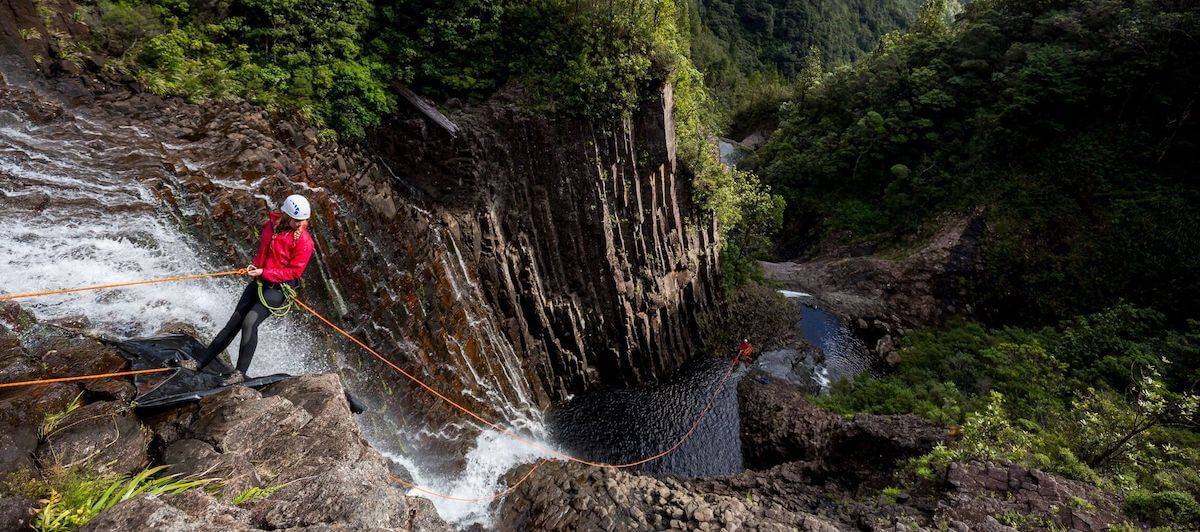 Abseiling a waterfall with Canyonz, Coromandel