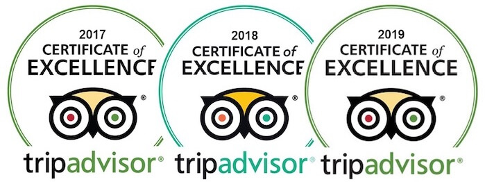 Tripadvisor 2017, 2018, and 2019 certificate of excellence logo